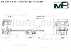 DAF XF 450 FAR - MX-11 Comfort Cab - Space Cab 6x2 '2018 - drawing