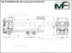 DAF XF 430/480/530 FAR-MX-13 Super Space Cab 6x2 '2018 - drawing