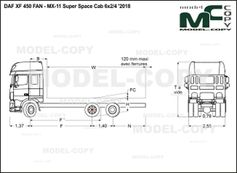 DAF XF 450 FAN - MX-11 Super Space Cab 6x2/4 '2018 - drawing