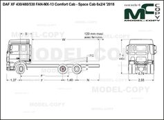 DAF XF 430/480/530 FAN-MX-13 Comfort Cab - Space Cab 6x2/4 '2018 - drawing