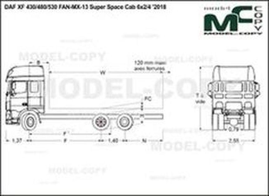 DAF XF 430/480/530 FAN-MX-13 Super Space Cab 6x2/4 '2018 - drawing