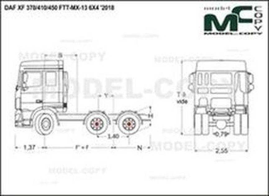 DAF XF 370/410/450 FTT-MX-13 6X4 '2018 - drawing