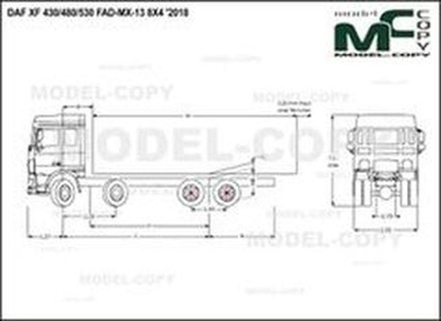 DAF XF 430/480/530 FAD-MX-13 8X4 '2018 - drawing