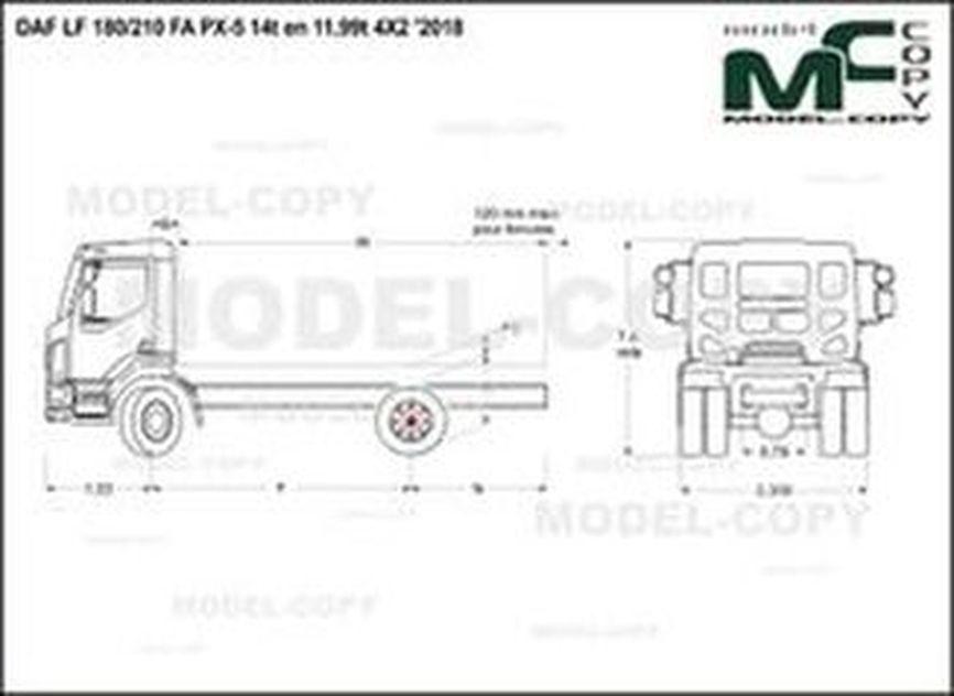 DAF LF 180/210 FA PX-5 14t en 11,99t 4X2 '2018 - drawing