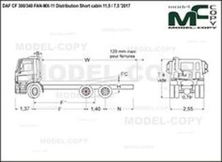 DAF CF 300/340 FAN-MX-11 Distribution Short cabin 11,5 / 7,5 '2017 - drawing