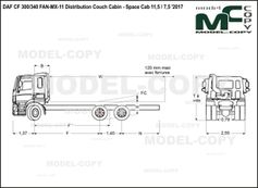 DAF CF 300/340 FAN-MX-11 Distribution Couch Cabin - Space Cab 11,5 / 7,5 '2017 - drawing