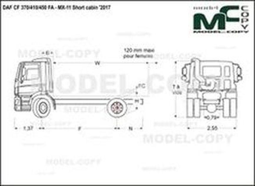 DAF CF 370/410/450 FA - MX-11 Short cabin '2017 - drawing
