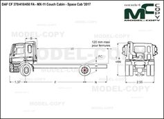 DAF CF 370/410/450 FA - MX-11 Couch Cabin - Space Cab '2017 - drawing