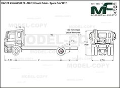 DAF CF 430/480/530 FA - MX-13 Couch Cabin - Space Cab '2017 - drawing