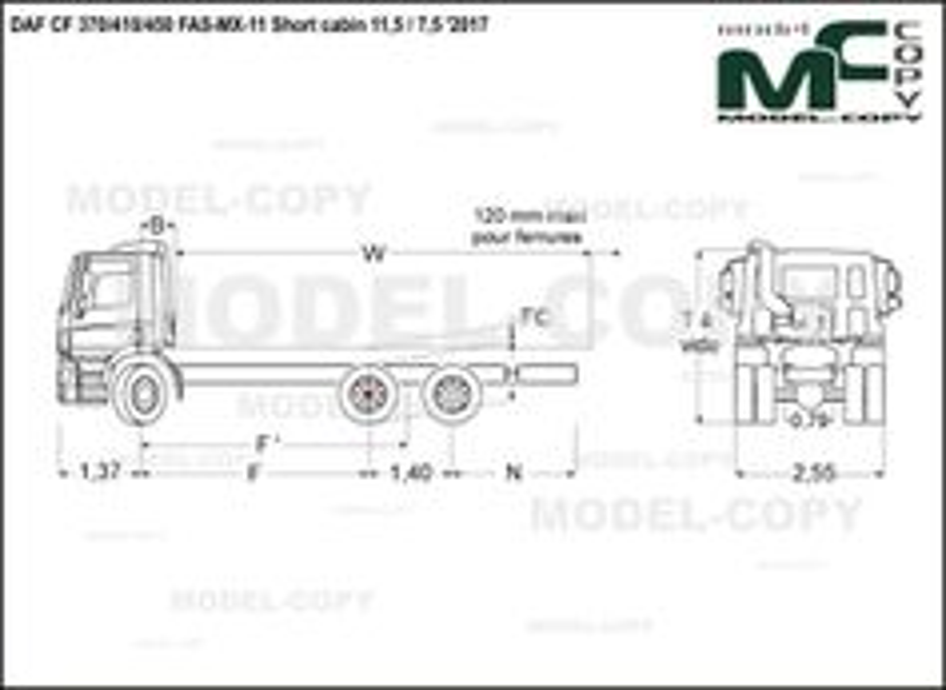 DAF CF 370/410/450 FAS-MX-11 Short cabin 11,5 / 7,5 '2017 - drawing