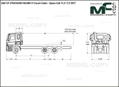 DAF CF 370/410/450 FAS-MX-11 Couch Cabin - Space Cab 11,5 / 7,5 '2017 - drawing