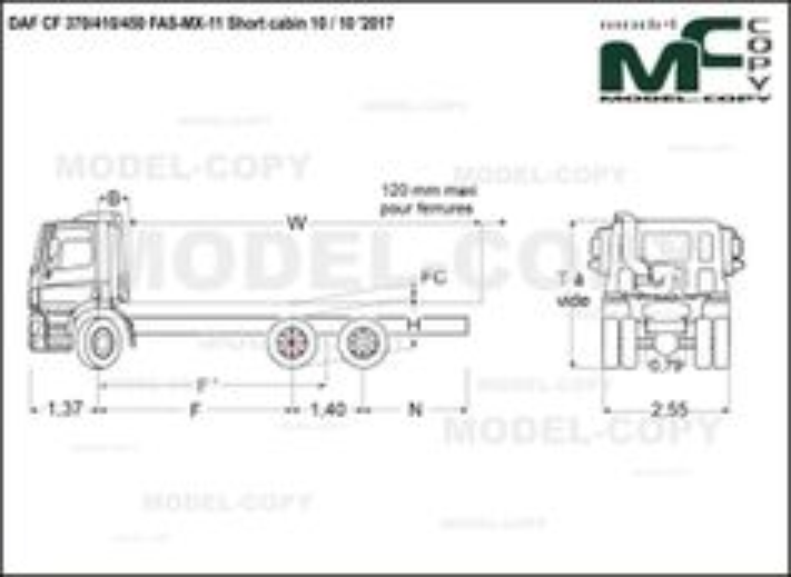 DAF CF 370/410/450 FAS-MX-11 Short cabin 10 / 10 '2017 - drawing
