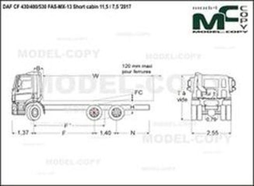DAF CF 430/480/530 FAS-MX-13 Short cabin 11,5 / 7,5 '2017 - drawing