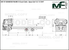 DAF CF 430/480/530 FAS-MX-13 Couch Cabin - Space Cab 11,5 / 7,5 '2017 - drawing