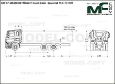 DAF CF 430/480/530 FAR-MX-11 Couch Cabin - Space Cab 11,5 / 7,5 '2017 - drawing