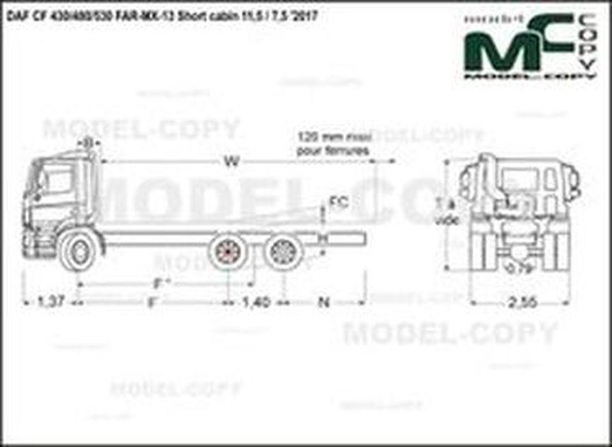 DAF CF 430/480/530 FAR-MX-13 Short cabin 11,5 / 7,5 '2017 - drawing