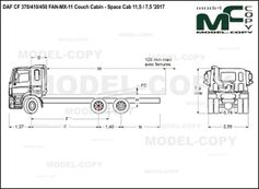 DAF CF 370/410/450 FAN-MX-11 Couch Cabin - Space Cab 11,5 / 7,5 '2017 - drawing