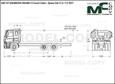 DAF CF 430/480/530 FAN-MX-13 Couch Cabin - Space Cab 11,5 / 7,5 '2017 - drawing
