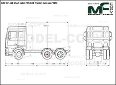 DAF XF 450 Short cabin FTS 6X2 Tractor, twin axle '2018 - drawing
