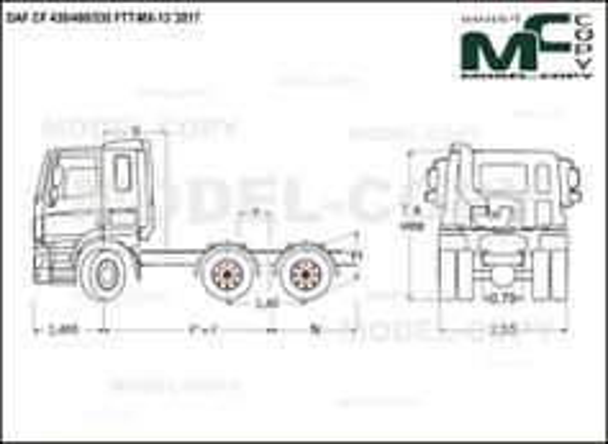 DAF CF 430/480/530 FTT-MX-13 '2017 - drawing