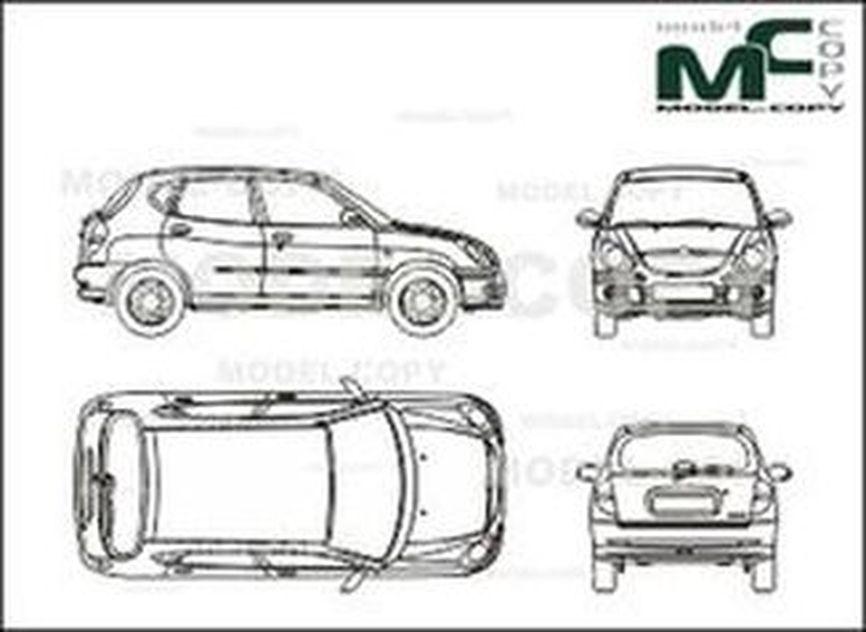 Daihatsu Sirion (2002) - 2D drawing (blueprints)