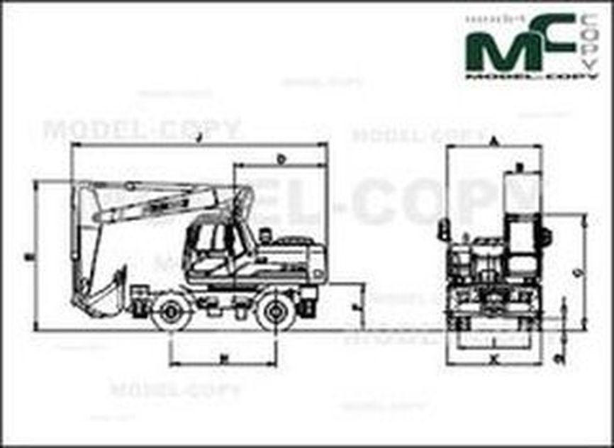 Doosan SOLAR180WV Articulated Boom - 2D drawing (blueprints)