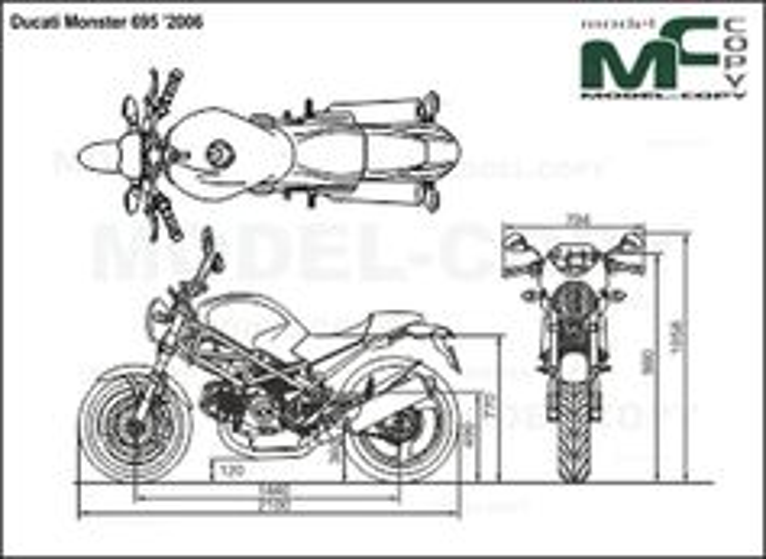 Ducati Monster 695 '2006 - 2D drawing (blueprints)