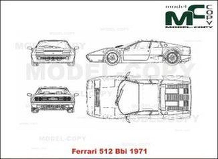 Ferrari 512 BBi (1971) - 2D drawing (blueprints)