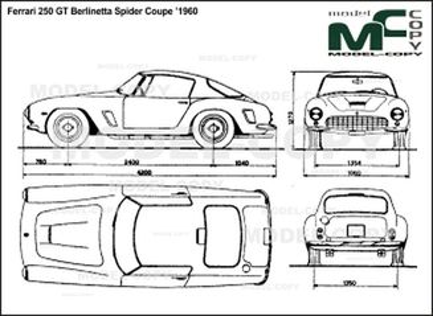Ferrari 250 GT Berlinetta Spider Coupe '1960 - 2D drawing (blueprints)