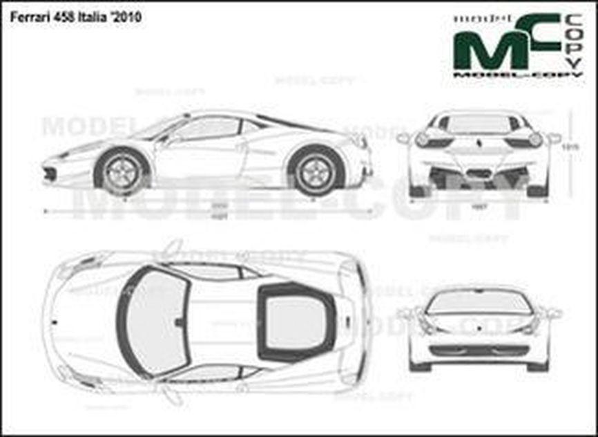 Ferrari 458 Italia '2010 - 2D drawing (blueprints)