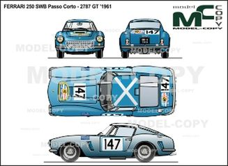 Ferrari 250 SWB Passo Corto - 2787 GT '1961 - 2D drawing (blueprints)