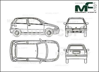 Fiat Punto 3-doors (1997-1999) - drawing