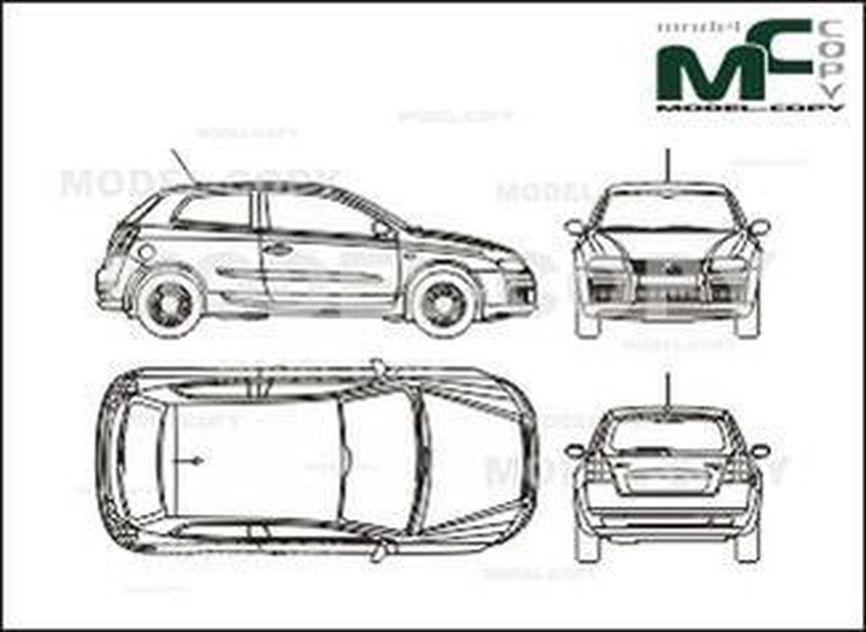 Fiat Stilo 3-doors (2001) - 2D drawing (blueprints)