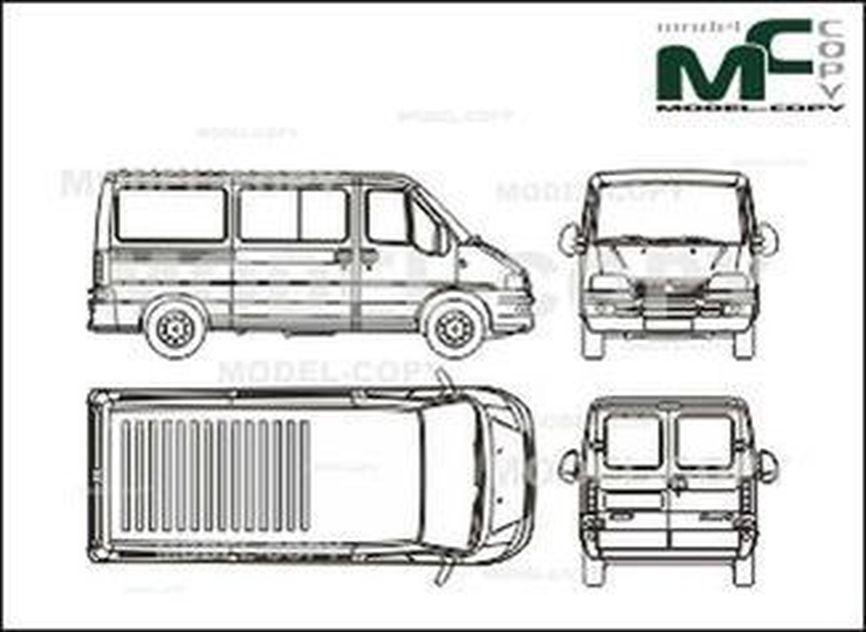 Fiat Ducato Сombi, L2H1, middle wheelbase (2002) - 2D drawing (blueprints)