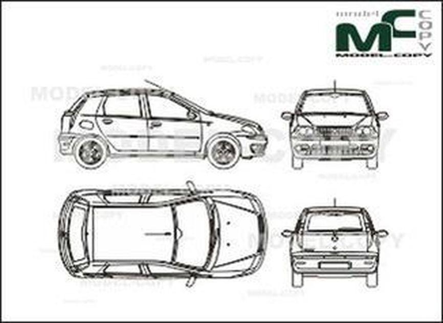 Fiat Punto 5-doors (2003) - 2D rajz