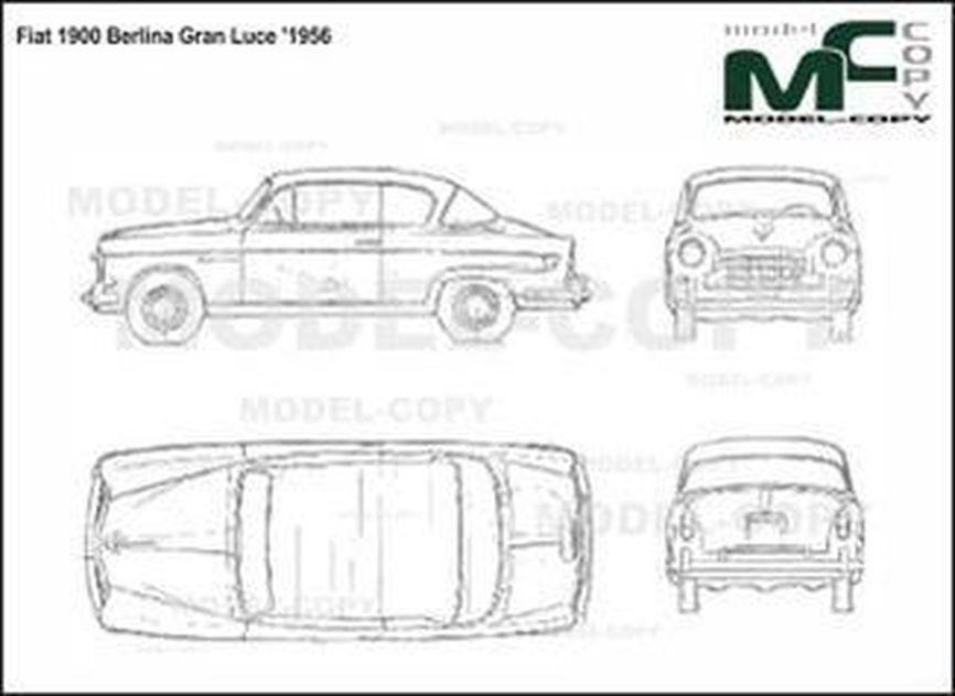 Fiat 1900 Berlina Gran Luce '1956 - drawing