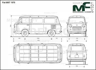 Fiat 600T '1970 - 2D drawing (blueprints)