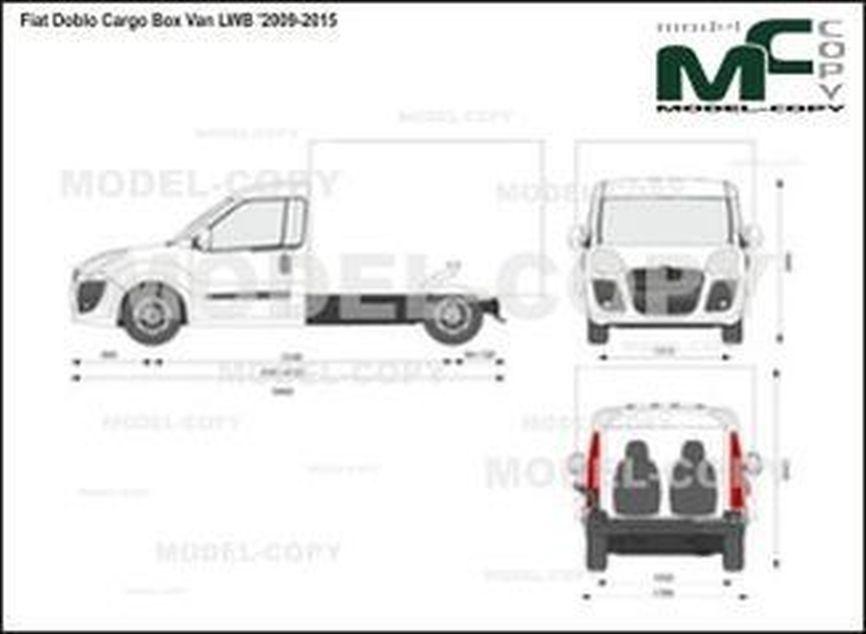 Fiat Doblo Cargo Box Van LWB '2009-2015 - 2D drawing (blueprints)