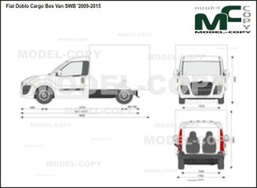 Fiat Doblo Cargo Box Van SWB '2009-2015 - 2 डी ड्राइंग