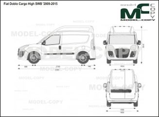Fiat Doblo Cargo High SWB '2009-2015 - 2D drawing (blueprints)