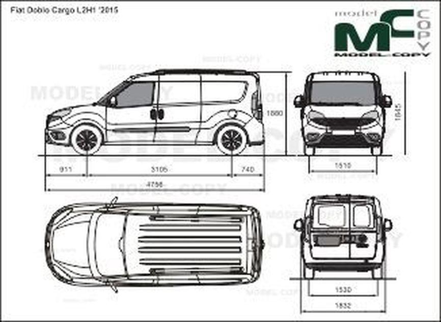 Fiat Doblo Cargo L2H1 '2015 - 2D drawing (blueprints)