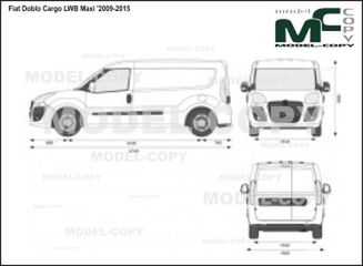 Fiat Doblo Cargo LWB Maxi '2009-2015 - 2D drawing (blueprints)