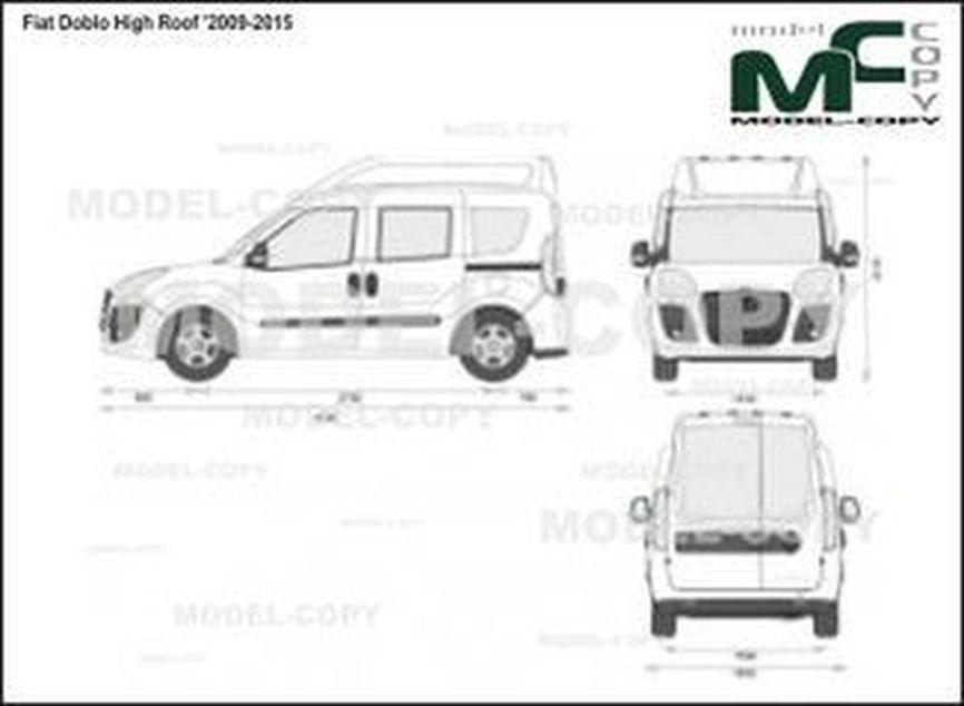 Fiat Doblo High Roof '2009-2015 - 2D drawing (blueprints)
