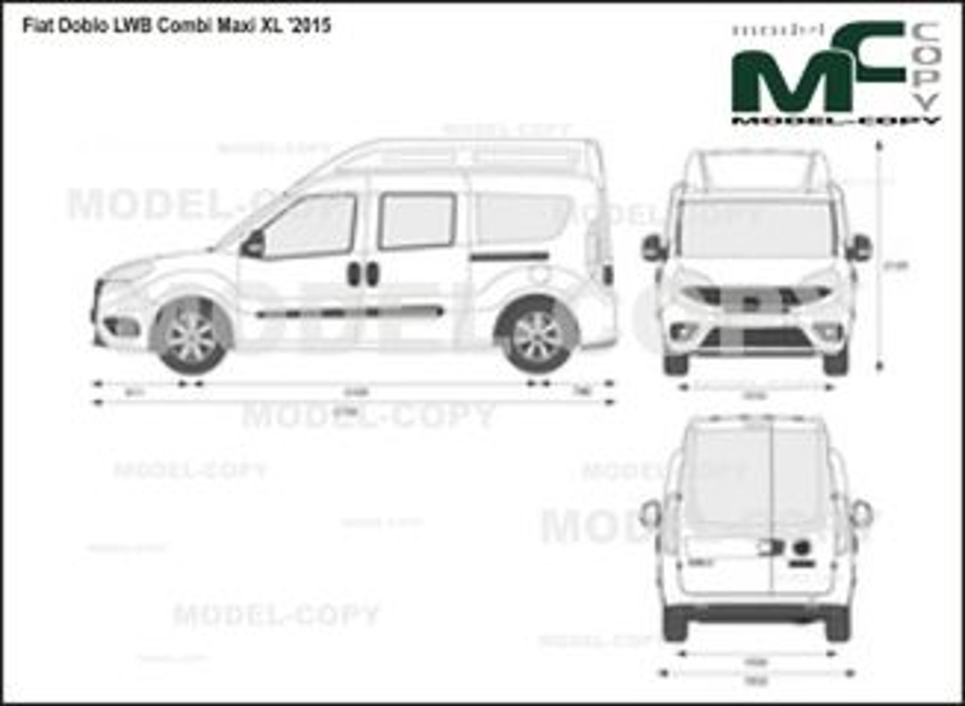 Fiat Doblo LWB Combi Maxi XL '2015 - 2D drawing (blueprints)