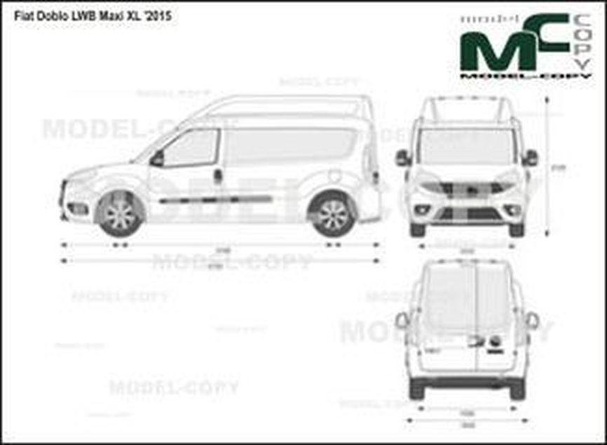 Fiat Doblo LWB Maxi XL '2015 - 2D図面