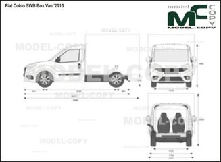 Fiat Doblo SWB Box Van '2015 - 2D drawing (blueprints)
