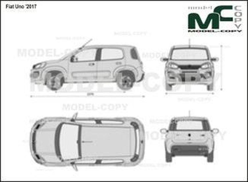 Fiat Uno '2017 - 2D drawing (blueprints)