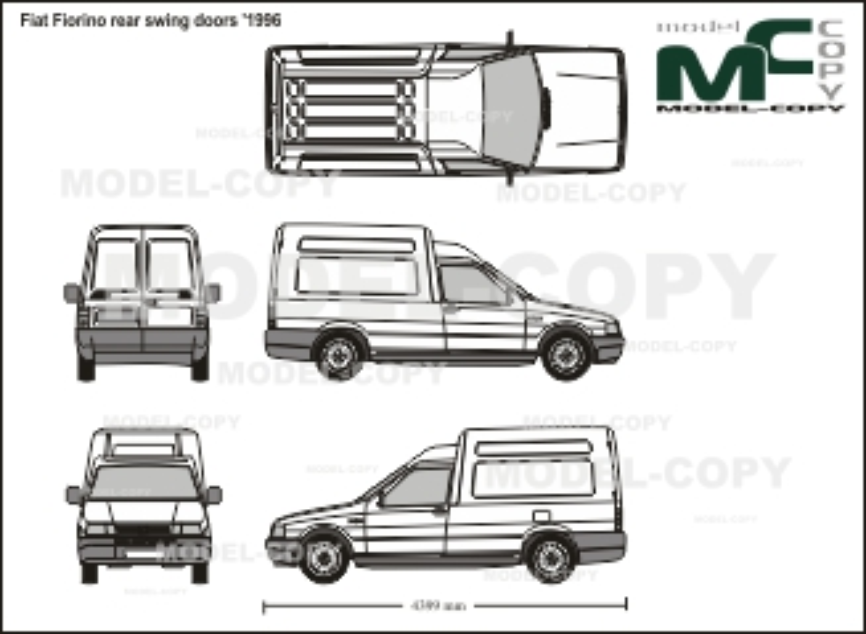 Fiat Fiorino rear swing doors '1996 - 2D drawing (blueprints)