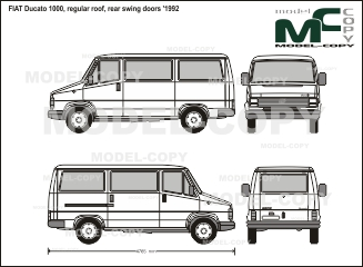 FIAT Ducato 1000, regular roof, rear swing doors '1992 - 2D tekening