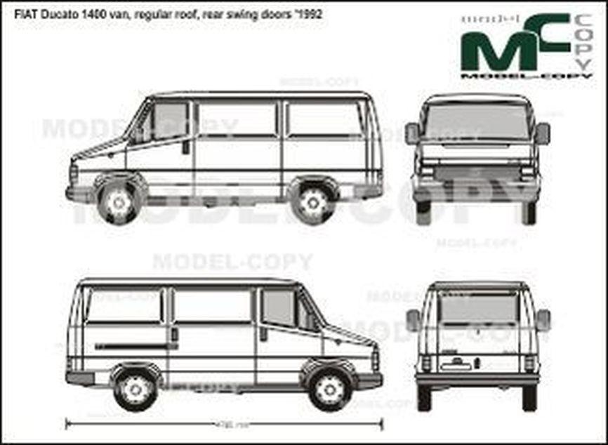 FIAT Ducato 1400 van, regular roof, rear swing doors '1992 - 2D drawing (blueprints)